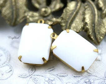 Chalk White 18x13mm Vintage Glass Octagon Set Stones Bangle Component Connector Brass Prong Settings - 2