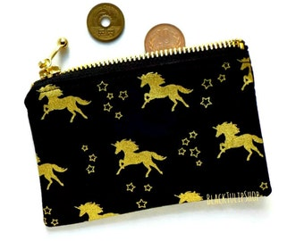 Small Zipper Pouch Change Purse Coin Purse Gold Black Unicorn Stars Wallet Zippered Pouch Kawaii Wallet Unicorn Pouch Retro 80s Style Bag