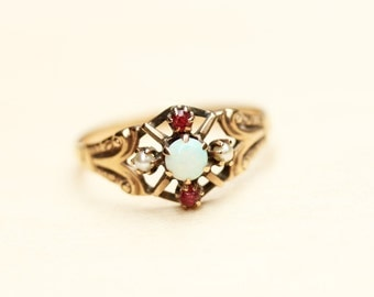 Victorian Cluster Ring, Victorian Opal Ring, Gold Opal Ring, Gold Cluster Ring, Gold Pearl Ring, Ruby Ring, Victorian Gold Ring, Size 5.75
