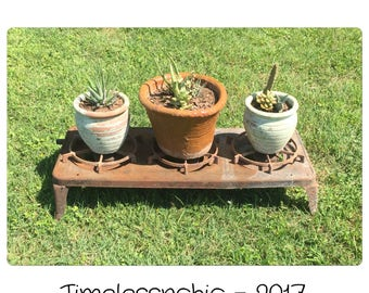 Salvage - Cast Iron Cooktop - Plant Stand - Plant Holder - Dog Bowl - Vintage Gas Stove - Cast Iron Stove - Metal Candelabra - Repurpose