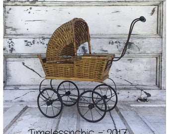 Antique Doll Buggy - Doll Carriage - Doll Stroller - Vintage Stroller - Vintage Buggy - Vintage Carriage - Photography Prop - Wicker Buggy
