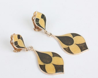 Harlequin Dangle Earrings Brown and Yellow Enamel Vintage Clip Style