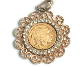 1936 Indian Head Nickel Pendant Rhinestones Signed WLP Vintage