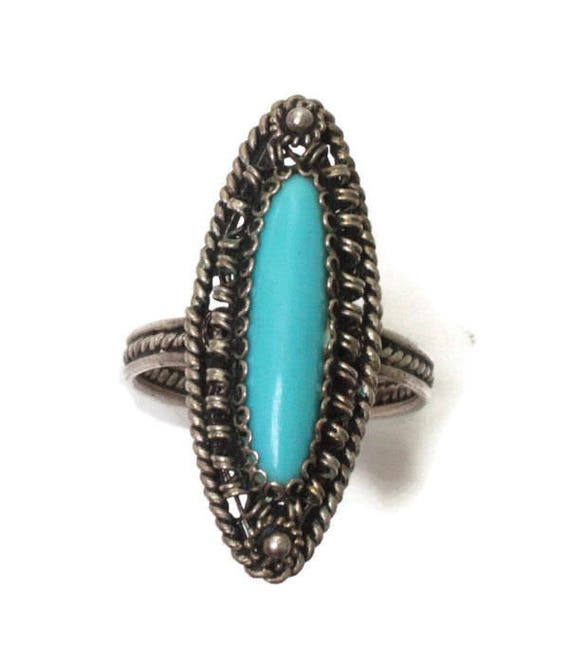 Simulated Turquoise Cabochon Ring Silver Filigree Vintage Size 7.5/P