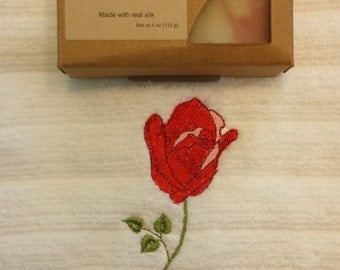 Rose Embroidered Towel - Rose Soap - Roses Gift Set