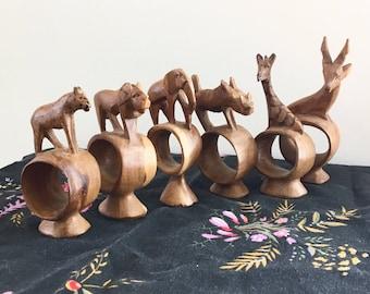 Vintage Boho Napkin Holders • Set of 6 Carved Wooden African Safari Animals