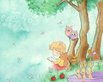 Under the Old Apple Tree - Blonde Girl with Curly Hair Reading to Teddy Bear - Children