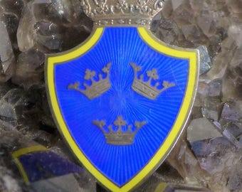 Old Vintage Gustaf Dahlgren Sterling Silver Crown Brooch Royal Blue Yellow Enamel Swedish King Insignia