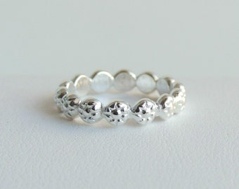 Sterling Silver Band Stackable Silver Berries Ring Daisy Chain