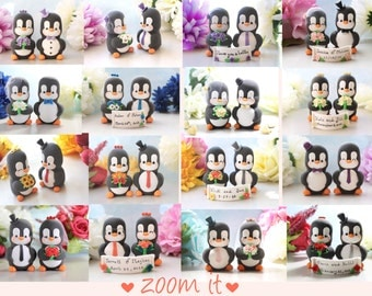 Custom cake toppers wedding unique Penguins - personalized bride and groom figurine funny elegant black white wedding gift penguins lovers