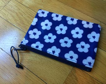 Finnish blue flower OIL cloth coin purse, cute from Finland