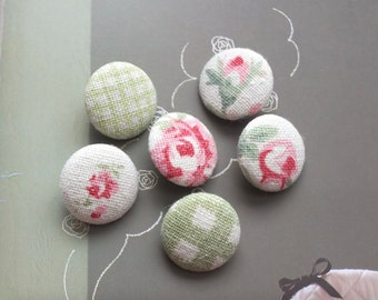 Shabby Chic Soft Color Green Rose Flower Floral Garden Check Patchwork, Choose Color-Handmade Fabric Covered Buttons(0.75 Inches, 6PCS)