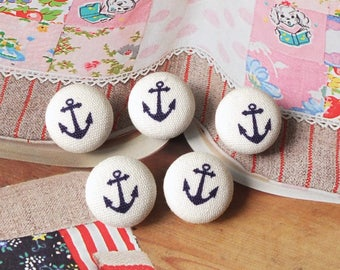 Chic Simple Little Nautical Marine Dark Blue Geometric Sailboats On Off White-Handmade Fabric Covered Buttons(0.55 Inches, 5PCS)