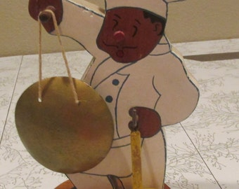Vintage black Americana hand made wooden CHEF figure folk art metal gong