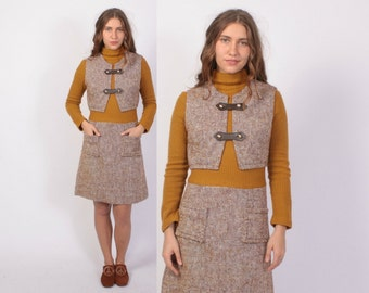 Vintage 60s TURTLENECK DRESS / 1960s Sweater Knit & Tweed Dress with Matching Vest XS - S