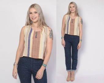 Vintage 90s Ethnic TOP / 1990s Sleeveless Woven Guatemalan Striped Boxy Loose Fit Tank