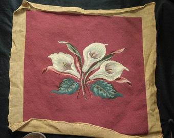 Calla Lilies Vintage Needlepoint on Deep Rose Background Unused Vintage