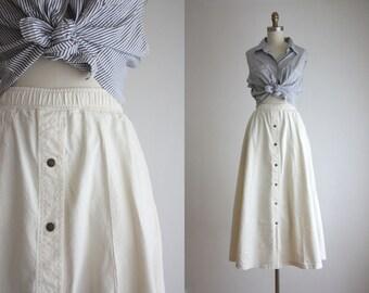 cotton twill midi skirt