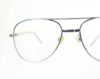 Vintage 1980s Womens Aviator Glasses Eyeglasses Chrome Metallic Geek Chic Nerdy Classic 80s Eighties Ladies Retro Eighties Sunglasses NOS
