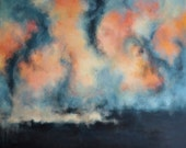 "Starry Sky Original Abstract Painting, LARGE Modern Wall Art  27x32"" UNSTRETCHED Rolled in a tube"