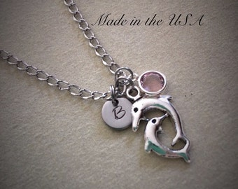 Personalized Swarovski birthstone swimming dolphins necklace