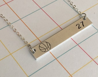 Basketball bar necklace Women's jewelry Hand stamped Sports jewelry Best friend necklace Silver bar Personalized Gift for her Necklaces