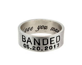 Love you More Ring for Men - Handcrafted Silver Band, 8mm Wide, Mens Wedding Band, Masculine Ring, Gift for Him, Personalized Rings