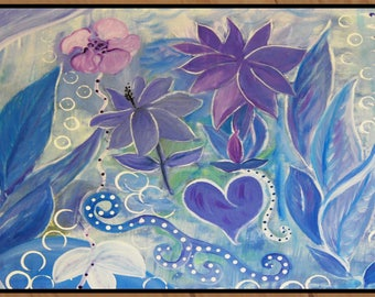 Orchard, purple and blue floral art indoor outdoor 20 oz loop Floor Mat from my original art
