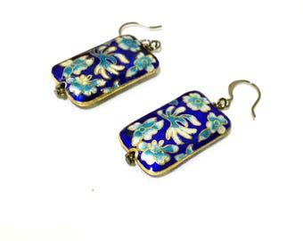 SALE   Cloisonné Flower Rectangle Dangle Earrings