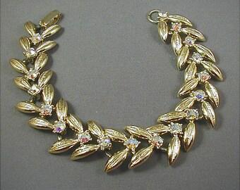 Vintage Bracelet Goldtone Leaf Aurora Rhinestone