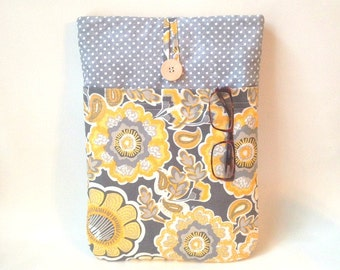 Yellow MacBook Air 13 Sleeve, MacBook Air 13 Case, MacBook Air Sleeve, 13 inch Macbook Laptop Cover, Mac Book Pro 13 Case, floral grey dots