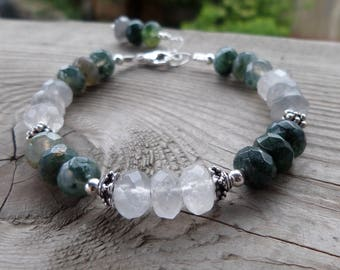 Faceted Moss Agate and Sterling Silver Gemstone Bracelet
