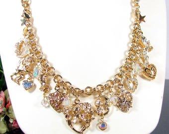 Vtg Kirks Folly LEGEND Of The HEART Charm Bracelet Necklace Knight Heart Crystal
