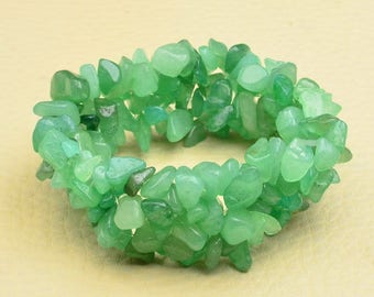 "Handcrafted Green Aventurine Stretchy Bracelet 6"" Wearable Length"
