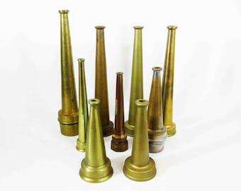 Vintage Brass Fire Hose Nozzle Collection. Nine Total.