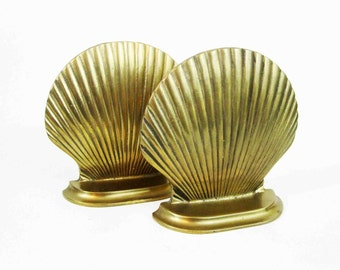 Vintage Brass Seashell Bookends. Circa 1960's.