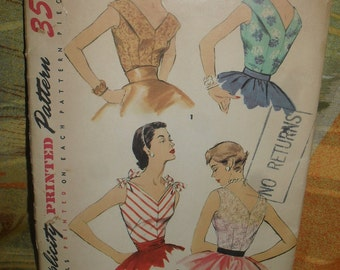 Vintage Simplicity Sewing Pattern - SunBack Blouse  1940s - # 1171