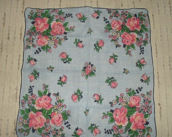 Vintage  Hankie Handkerchief - Pink Roses Pattern - Blue / White checked background