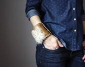 Leather and lamb skin bracelet, wide leather cuff, fur bracelet, boho chic bracelet,  bohemian style jewelry, Pixie bracelet