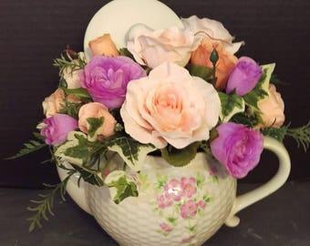Pink, Coral and Lavender Teapot Flower Arrangement