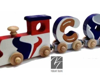 Custom FOUR LETTER Name Train. Any Style or Design with Engine and Caboose, Hand Painted for you by Vibrant Trains