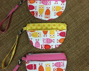 Owl Zip Case, Manhattan Zip Case, Zippered Pouch, Wristlet, Owls