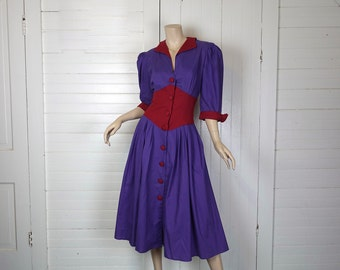 80s does 40s Dress in Purple & Burgundy- 1980s Cotton- Medium- Punk / New Wave