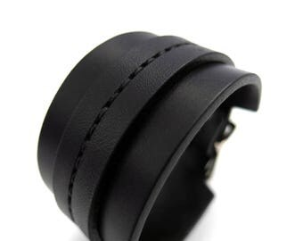 Black on Black Saddle Stitch Cuff