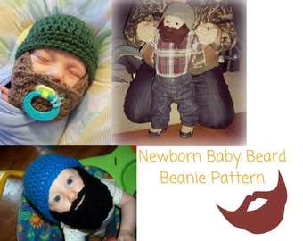 Newborn Beard Beanie Crochet Pattern, Newborn Beard Hat Crochet Pattern, Newborn Lumberjack Crochet Patterrn, Fake Beard Pattern