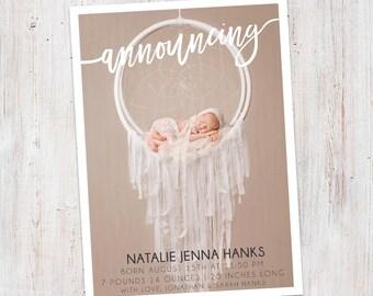 Birth Announcement : Announcing Natalie Baby Girl Custom Photo Birth Announcement - Baby Announcement -  Photo Announcement
