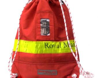Red Drawstring Backpack, Hipster Backpack, Recycled Royal Mail Bag, Vegan Bag, Biker bag, Unisex Bag, Soft Bag / Upcycled in GERMANY-2210