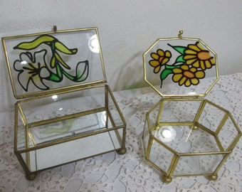 Terrarium Brass and Glass Set of 2 Small Display Cases Colored Flower on the Lids