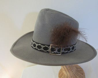 Bailey Hat Western Cowboy Hat U-Roll Style Gray with Brown Feather