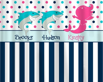 Sharks & Mermaid Shared Shower Curtain -Hot Pink, Navy, Turquoise and White Combination - Novelty custom personalized design